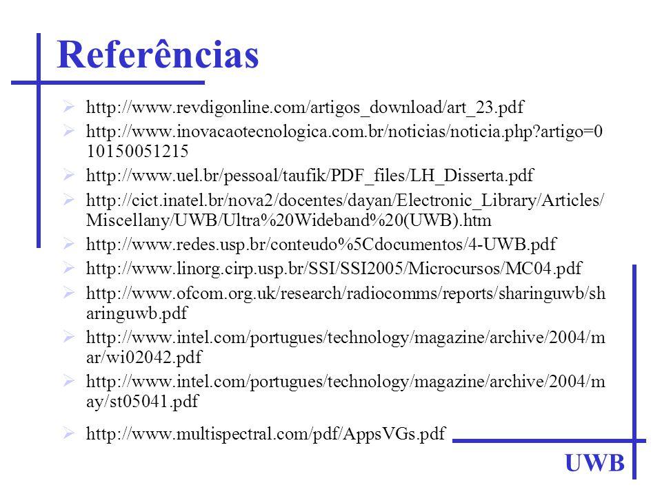 Referências http://www.revdigonline.com/artigos_download/art_23.pdf. http://www.inovacaotecnologica.com.br/noticias/noticia.php artigo=0 10150051215.