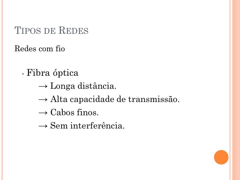 Tipos de Redes → Longa distância. → Alta capacidade de transmissão.