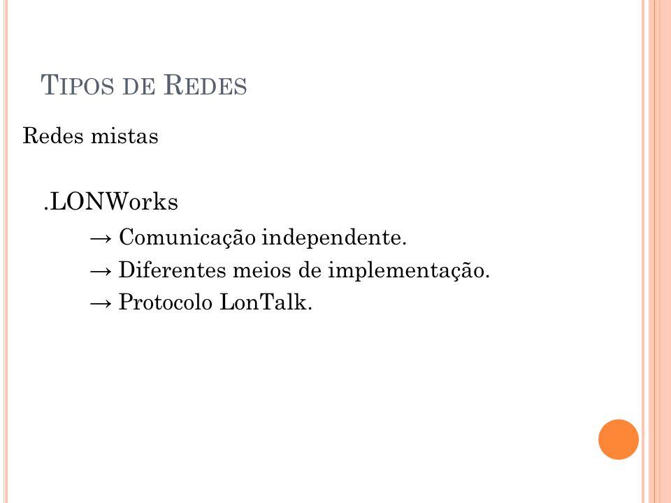 Tipos de Redes → Comunicação independente. Redes mistas .LONWorks