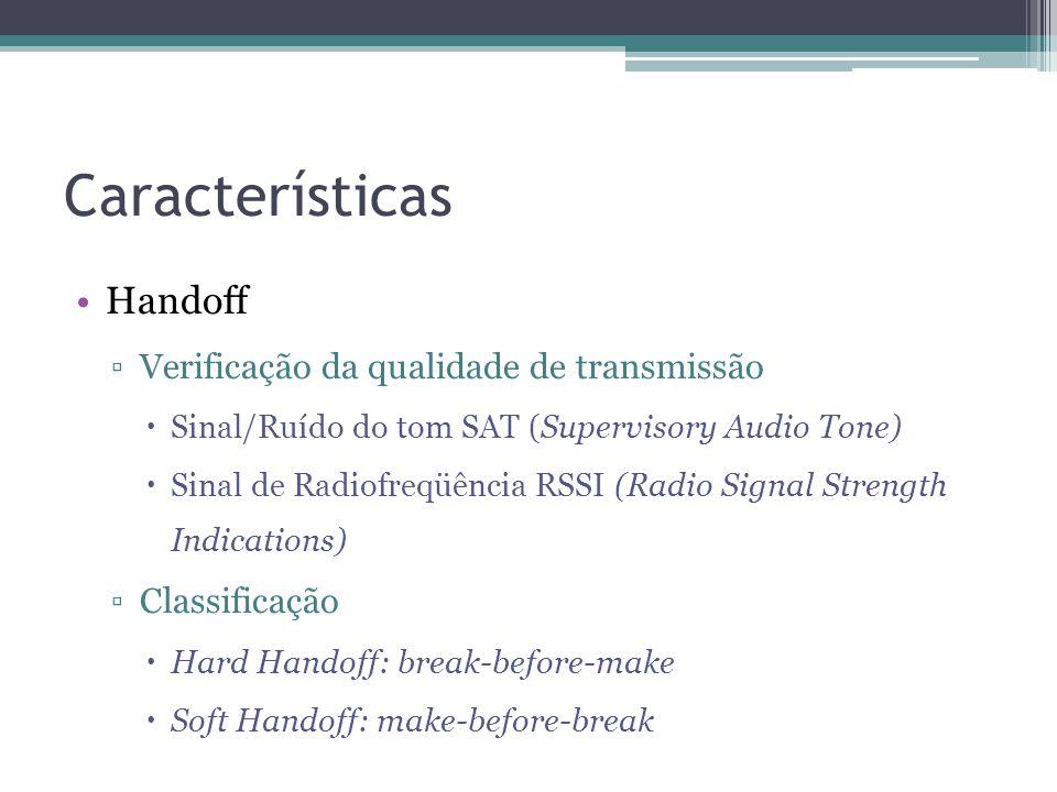 Características Handoff Verificação da qualidade de transmissão