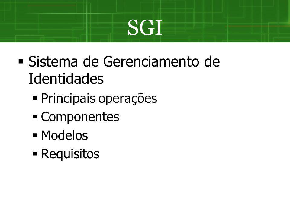 SGI Sistema de Gerenciamento de Identidades Principais operações