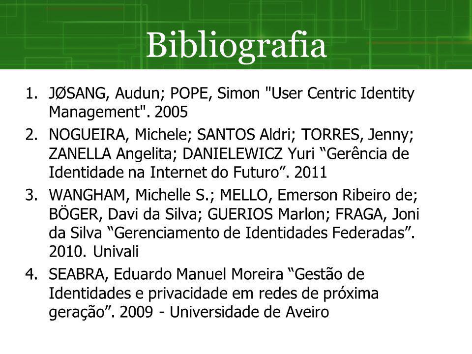 Bibliografia JØSANG, Audun; POPE, Simon User Centric Identity Management . 2005.