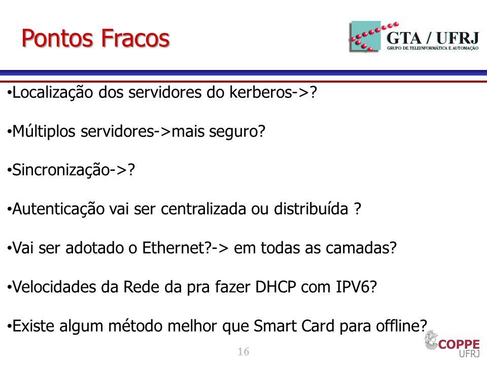 Pontos Fracos Localização dos servidores do kerberos->