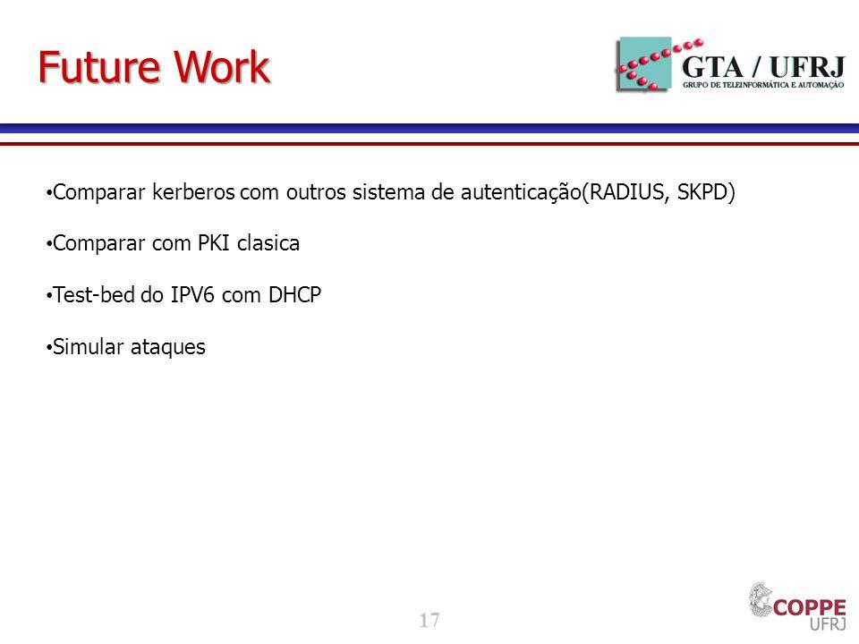 Future Work Comparar kerberos com outros sistema de autenticação(RADIUS, SKPD) Comparar com PKI clasica.