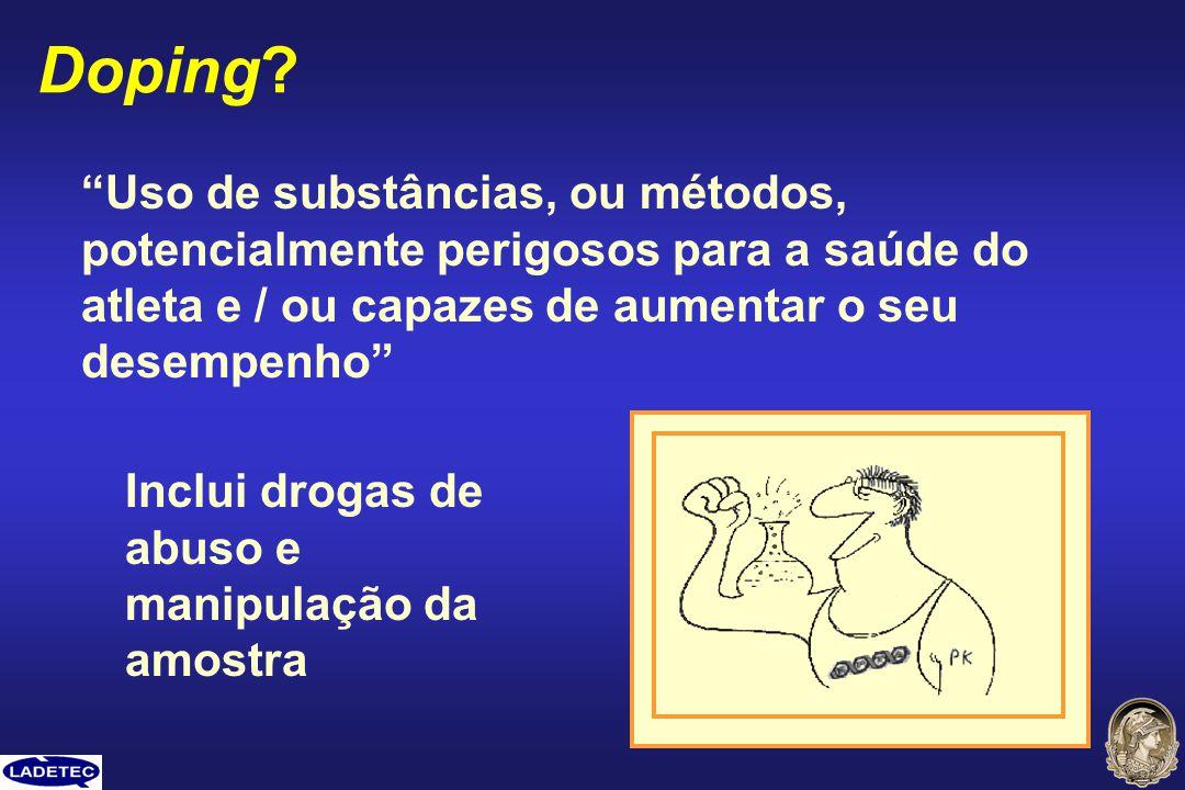 Doping Uso de substâncias, ou métodos, potencialmente perigosos para a saúde do atleta e / ou capazes de aumentar o seu desempenho