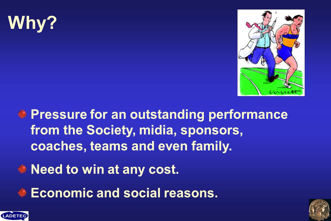 Why Pressure for an outstanding performance from the Society, midia, sponsors, coaches, teams and even family.