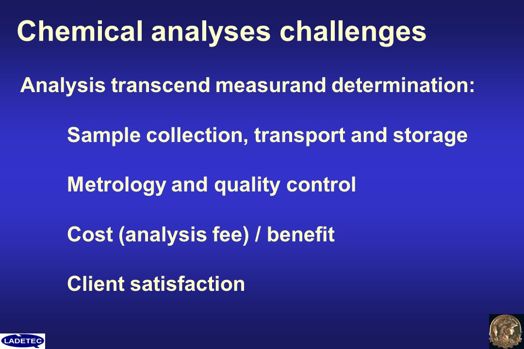 Chemical analyses challenges