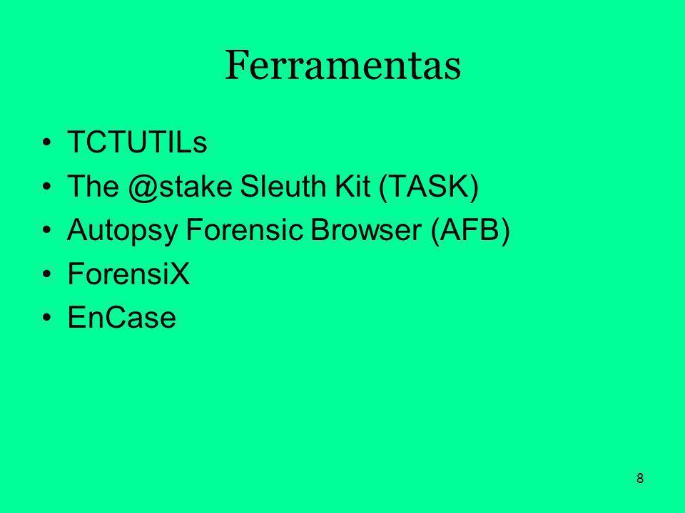 Ferramentas TCTUTILs The @stake Sleuth Kit (TASK)