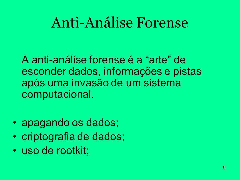 Anti-Análise Forense A anti-análise forense é a arte de esconder dados, informações e pistas após uma invasão de um sistema computacional.
