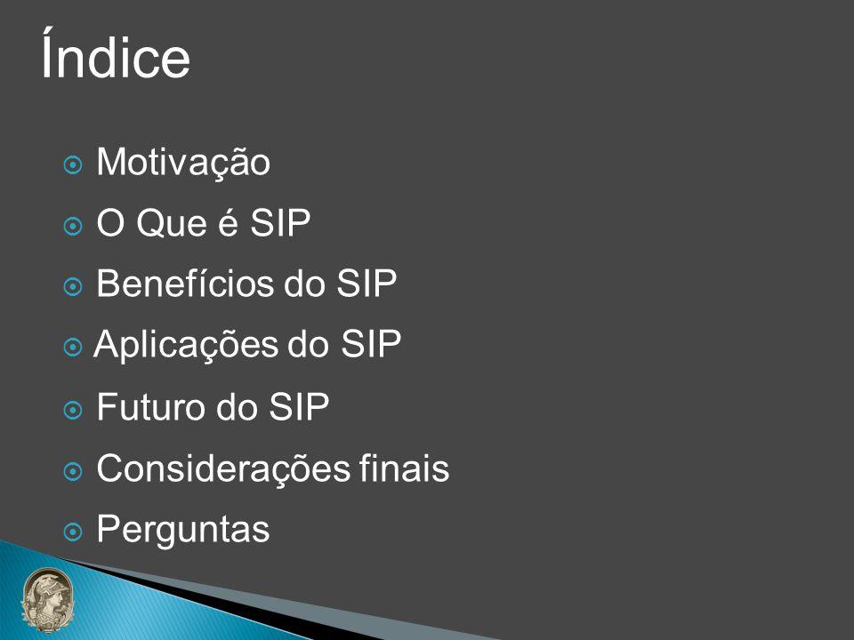 Índice Motivação O Que é SIP Benefícios do SIP Aplicações do SIP