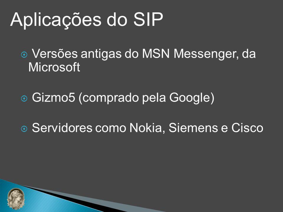 Aplicações do SIP Versões antigas do MSN Messenger, da Microsoft