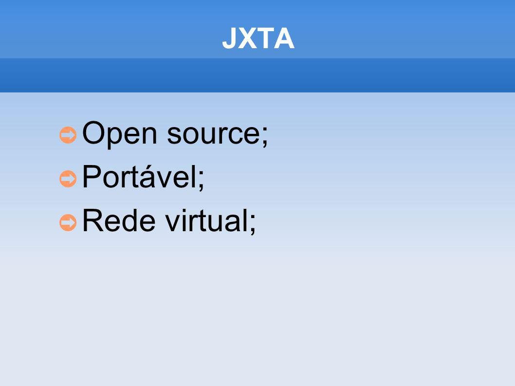 JXTA Open source; Portável; Rede virtual;