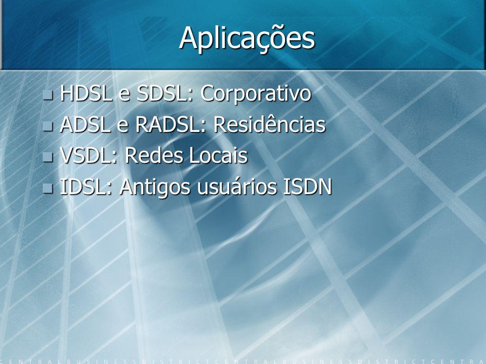Aplicações HDSL e SDSL: Corporativo ADSL e RADSL: Residências