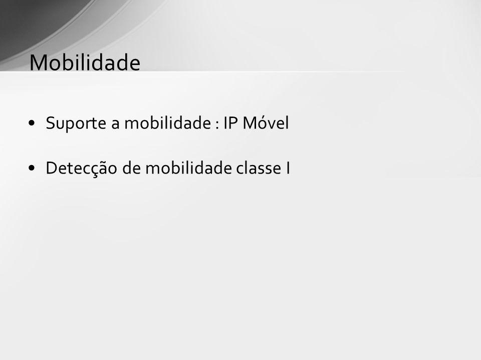 Mobilidade Suporte a mobilidade : IP Móvel
