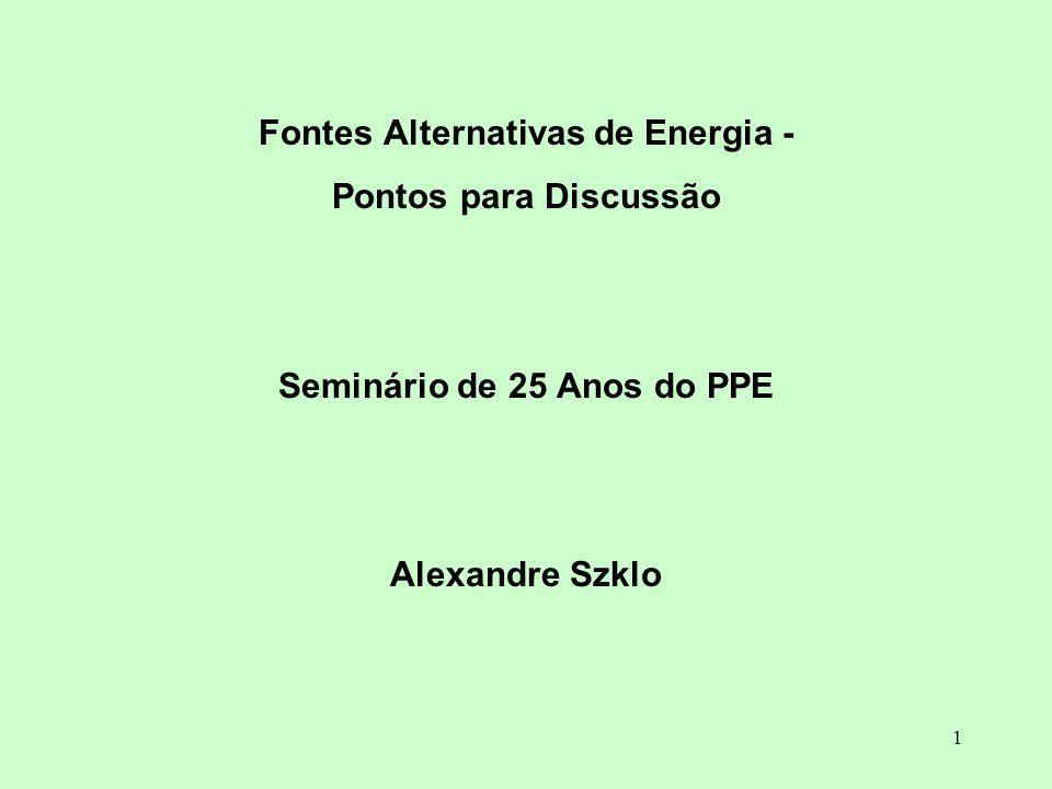 Fontes Alternativas de Energia - Seminário de 25 Anos do PPE