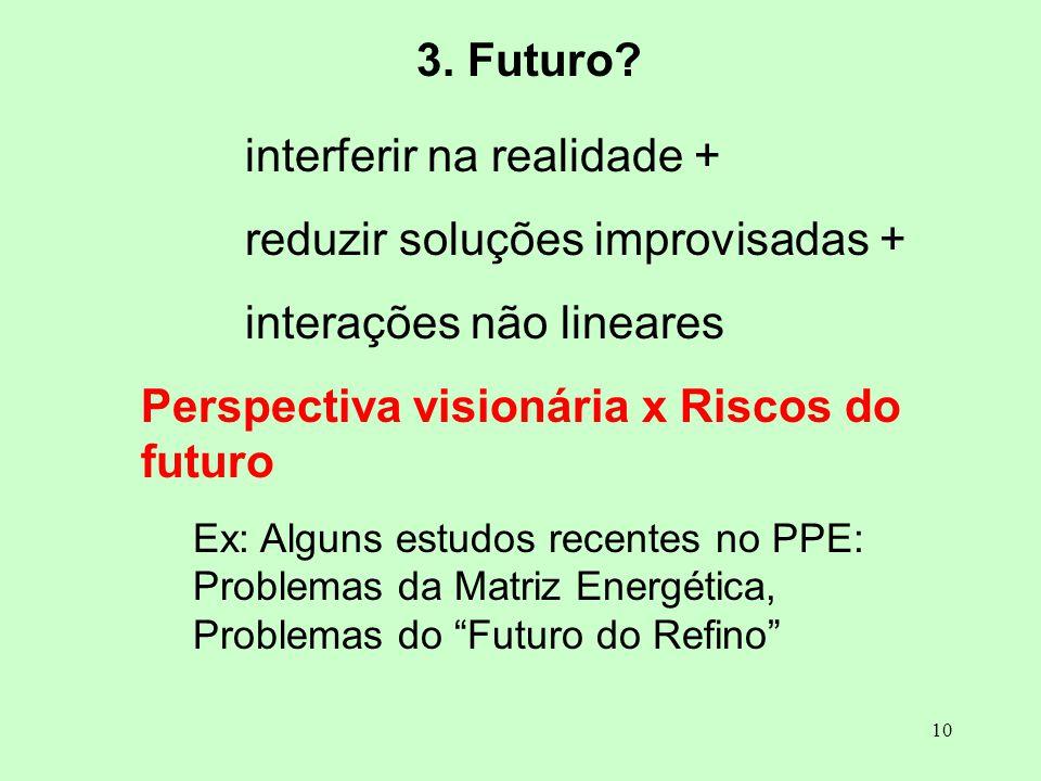 interferir na realidade + reduzir soluções improvisadas +