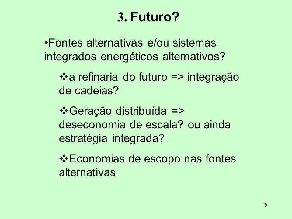 3. Futuro Fontes alternativas e/ou sistemas integrados energéticos alternativos a refinaria do futuro => integração de cadeias