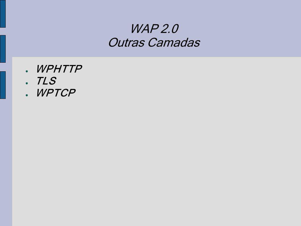 WAP 2.0 Outras Camadas WPHTTP TLS WPTCP