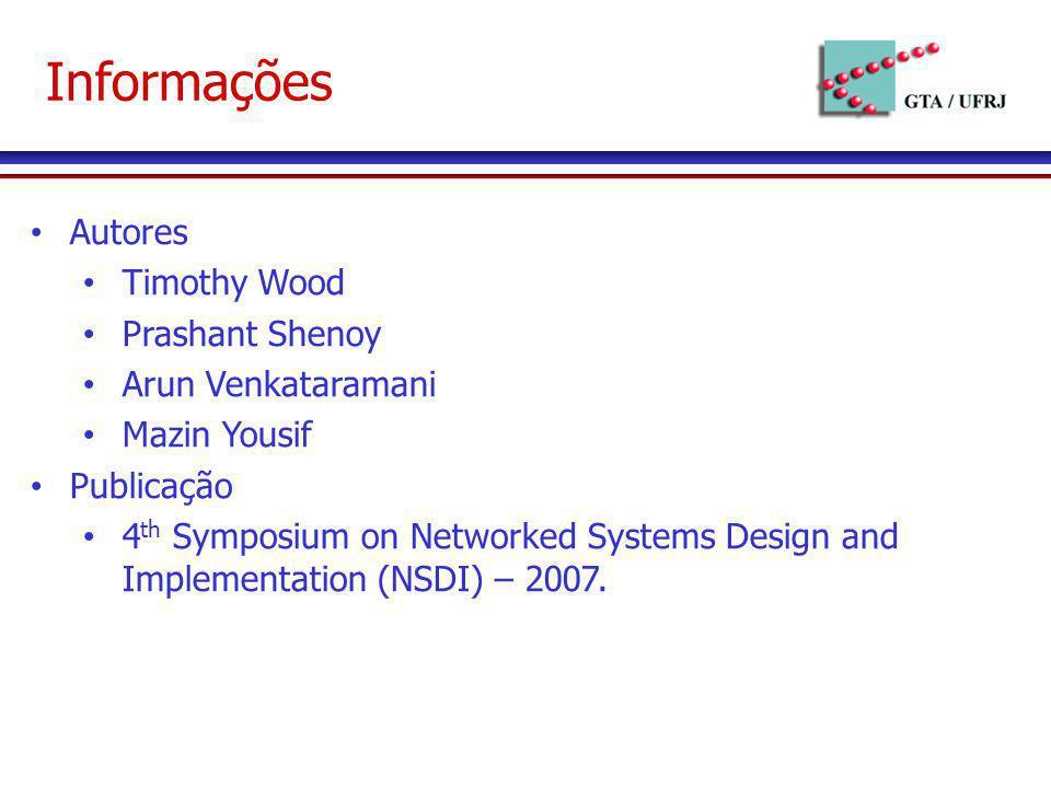 Informações Autores Timothy Wood Prashant Shenoy Arun Venkataramani