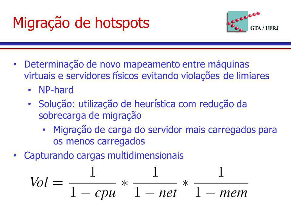 Migração de hotspots Determinação de novo mapeamento entre máquinas virtuais e servidores físicos evitando violações de limiares.