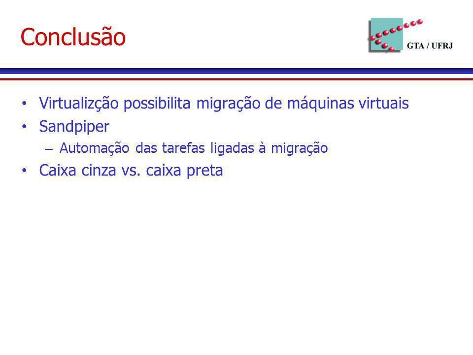 Conclusão Virtualizção possibilita migração de máquinas virtuais
