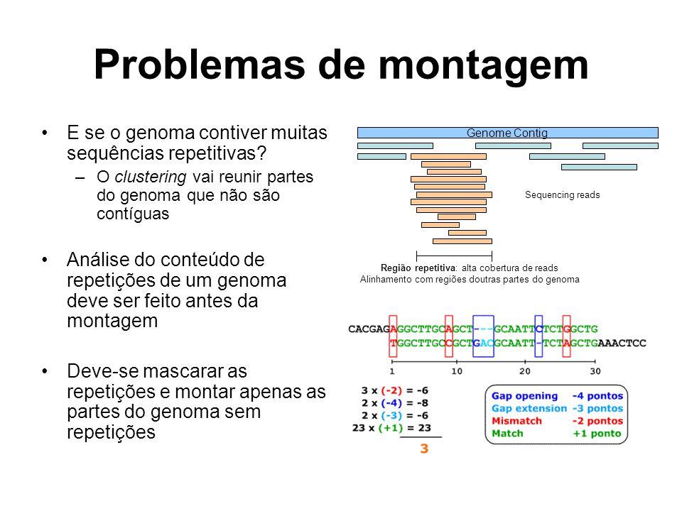 Problemas de montagem E se o genoma contiver muitas sequências repetitivas O clustering vai reunir partes do genoma que não são contíguas.