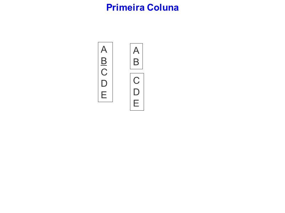 Primeira Coluna A B C D E A B C D E