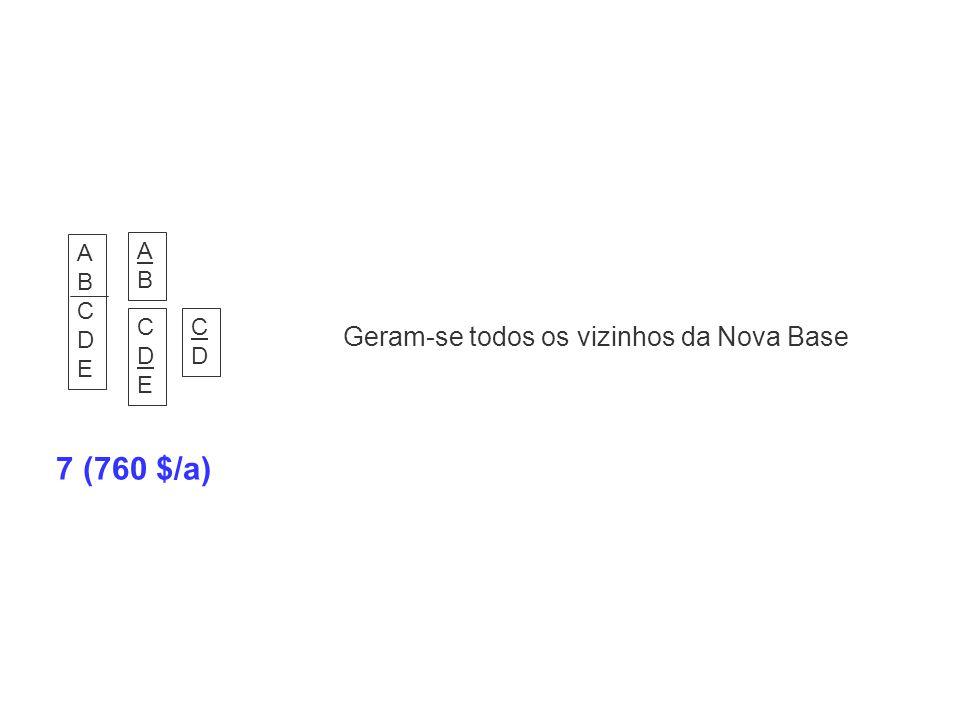 7 (760 $/a) Geram-se todos os vizinhos da Nova Base A B C D E A B