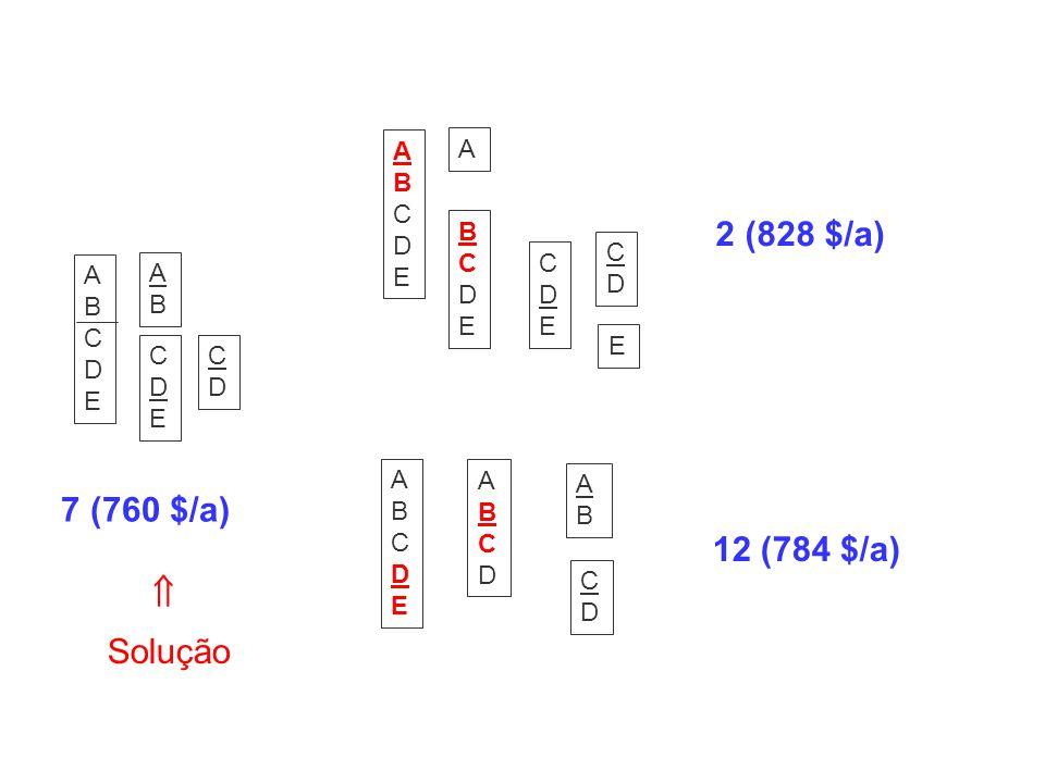 2 (828 $/a) 7 (760 $/a) 12 (784 $/a)  Solução A B C D E A BC D E E