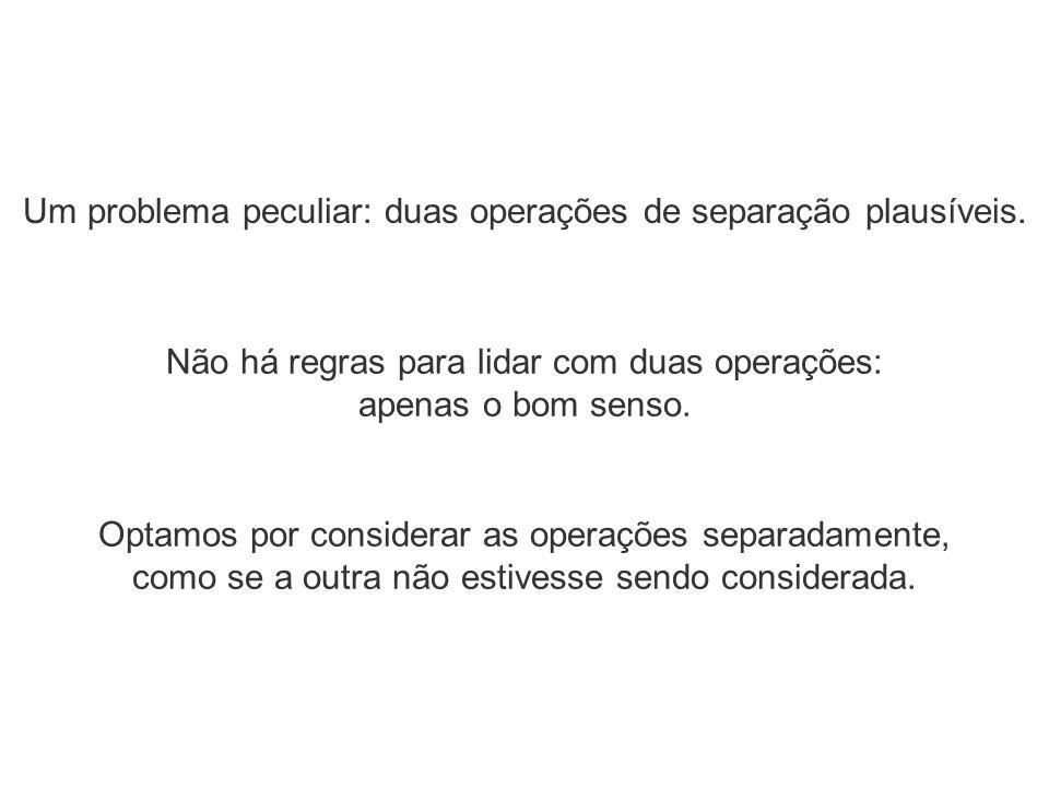 Um problema peculiar: duas operações de separação plausíveis.