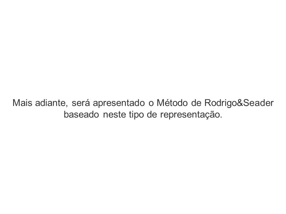 Mais adiante, será apresentado o Método de Rodrigo&Seader baseado neste tipo de representação.