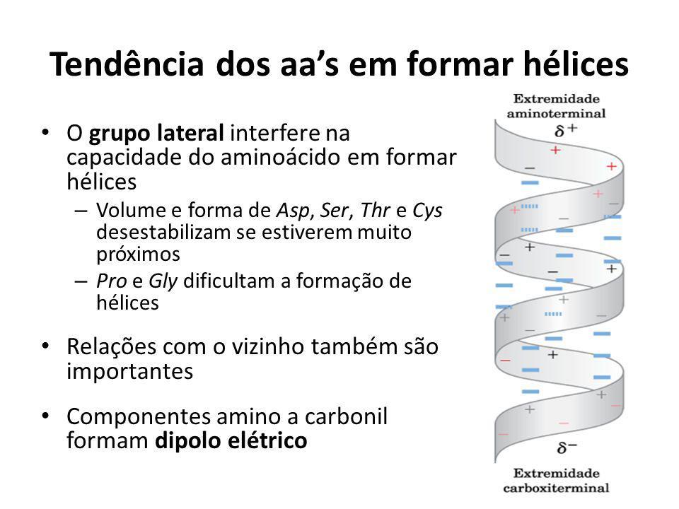 Tendência dos aa's em formar hélices