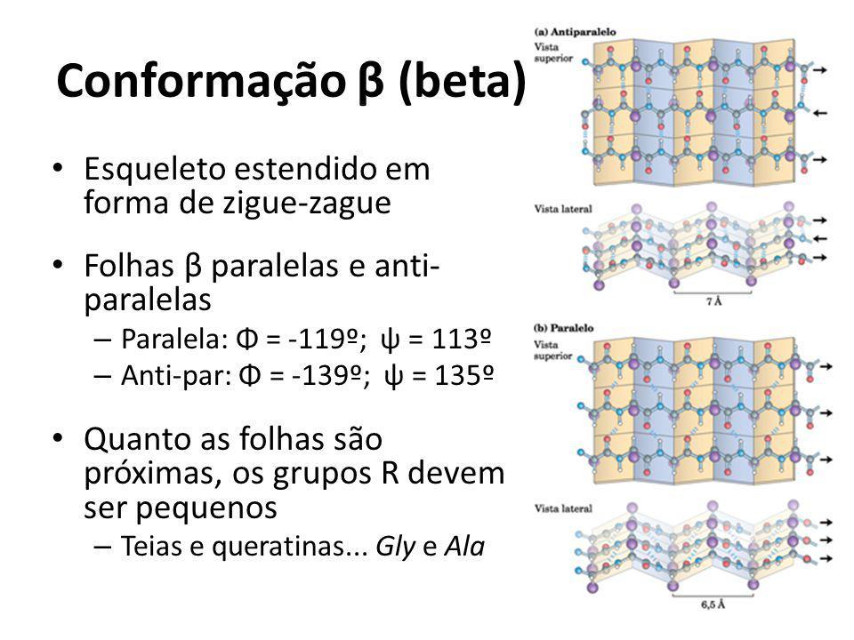 Conformação β (beta) Esqueleto estendido em forma de zigue-zague