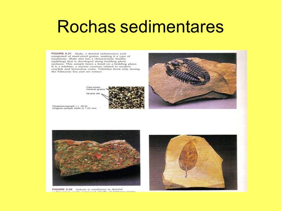 Rochas sedimentares Compactação, perda de água, dissolução de minerais, precipitação e união dos grãos.