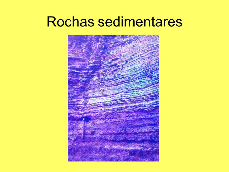 Rochas sedimentares Numa seqüência sedimentar os estratos inferiores são mais antigos que os superiores.