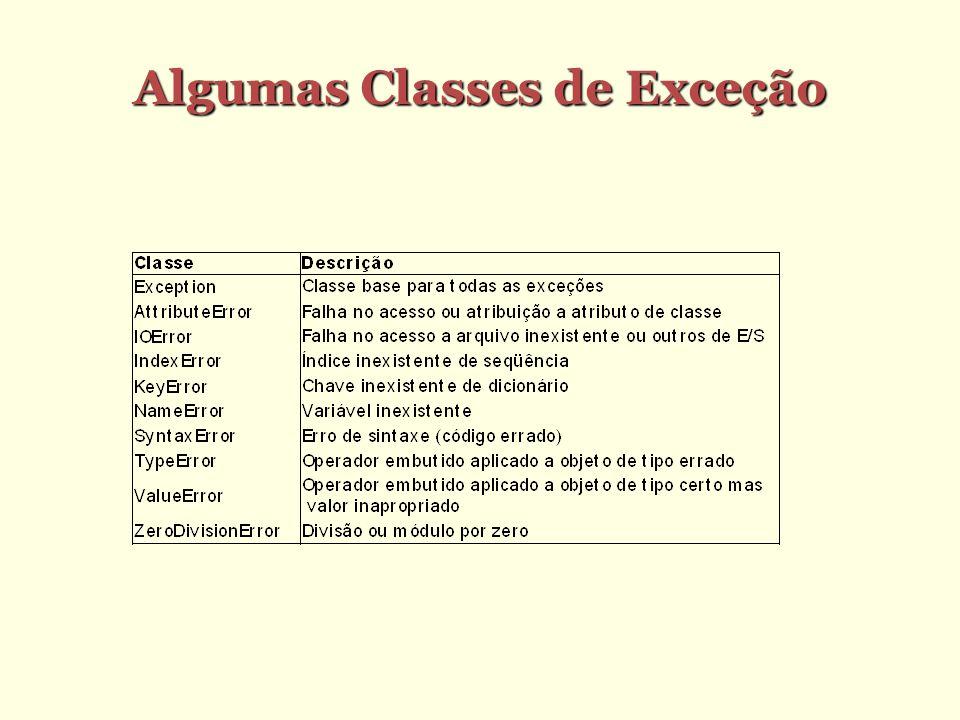 Algumas Classes de Exceção