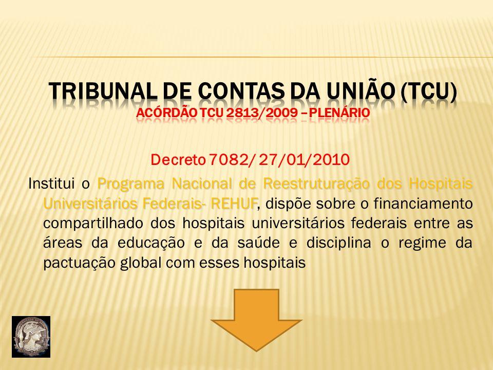 Tribunal de Contas da União (TCU) Acórdão TCU 2813/2009 –Plenário