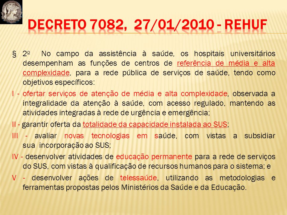 Decreto 7082, 27/01/2010 - REHUF