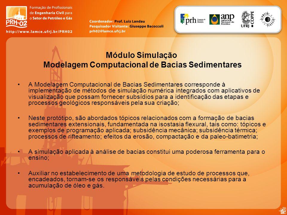 Módulo Simulação Modelagem Computacional de Bacias Sedimentares