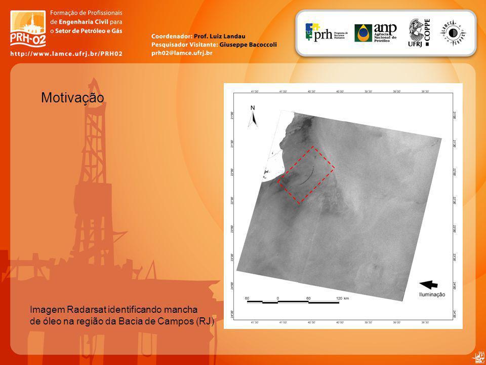 Motivação Imagem Radarsat identificando mancha