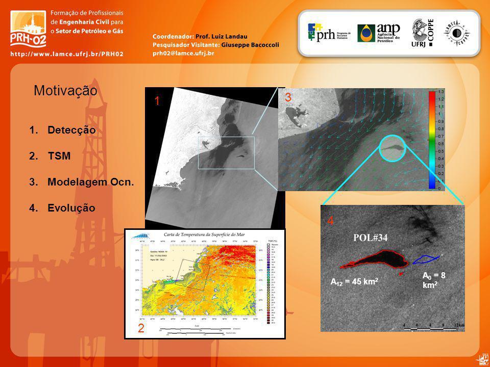 Motivação 3 1 4 2 Detecção TSM Modelagem Ocn. Evolução A0 = 8 km2