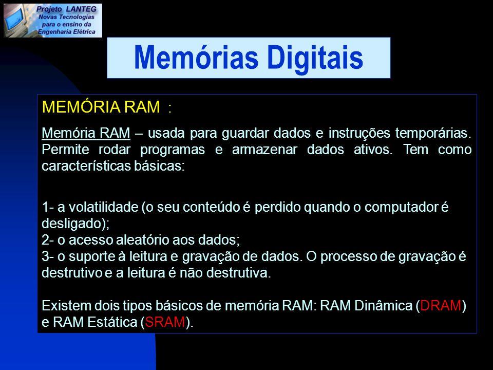 Memórias Digitais MEMÓRIA RAM :