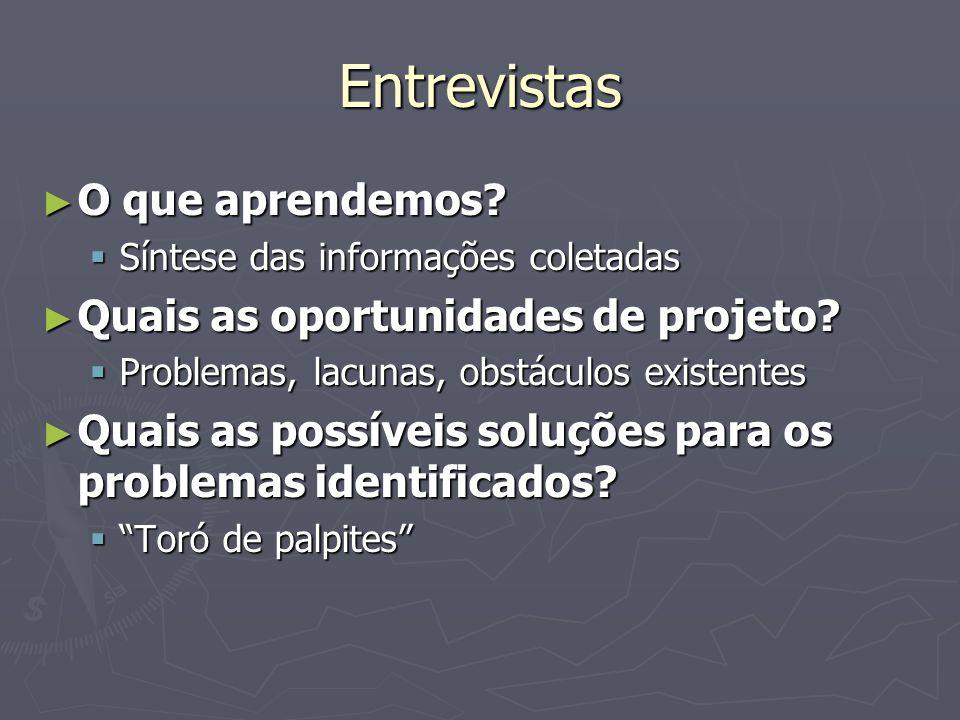 Entrevistas O que aprendemos Quais as oportunidades de projeto