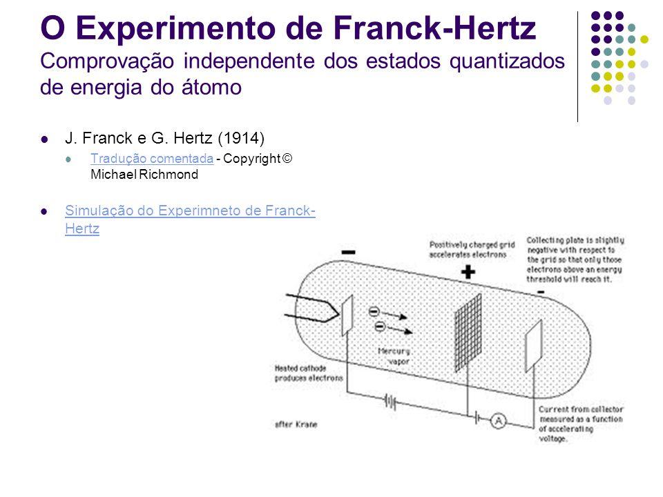 O Experimento de Franck-Hertz Comprovação independente dos estados quantizados de energia do átomo