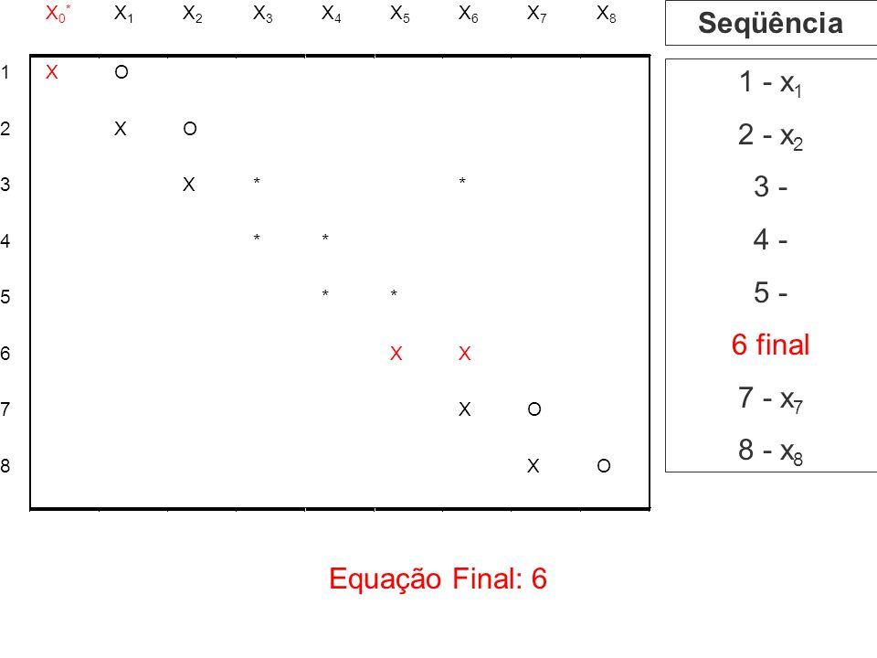 Seqüência 1 - x1 2 - x2 3 - 4 - 5 - 6 final 7 - x7 8 - x8