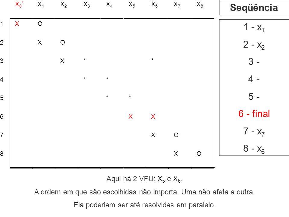 Seqüência 1 - x1 2 - x2 3 - 4 - 5 - 6 - final 7 - x7 8 - x8