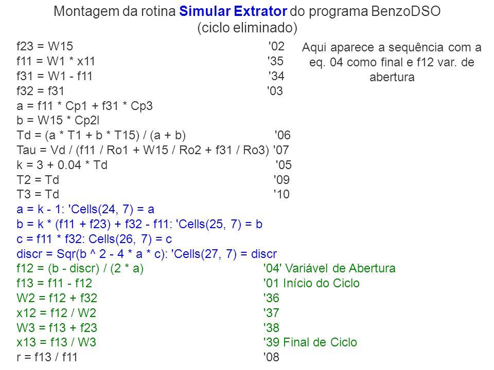 Montagem da rotina Simular Extrator do programa BenzoDSO (ciclo eliminado)