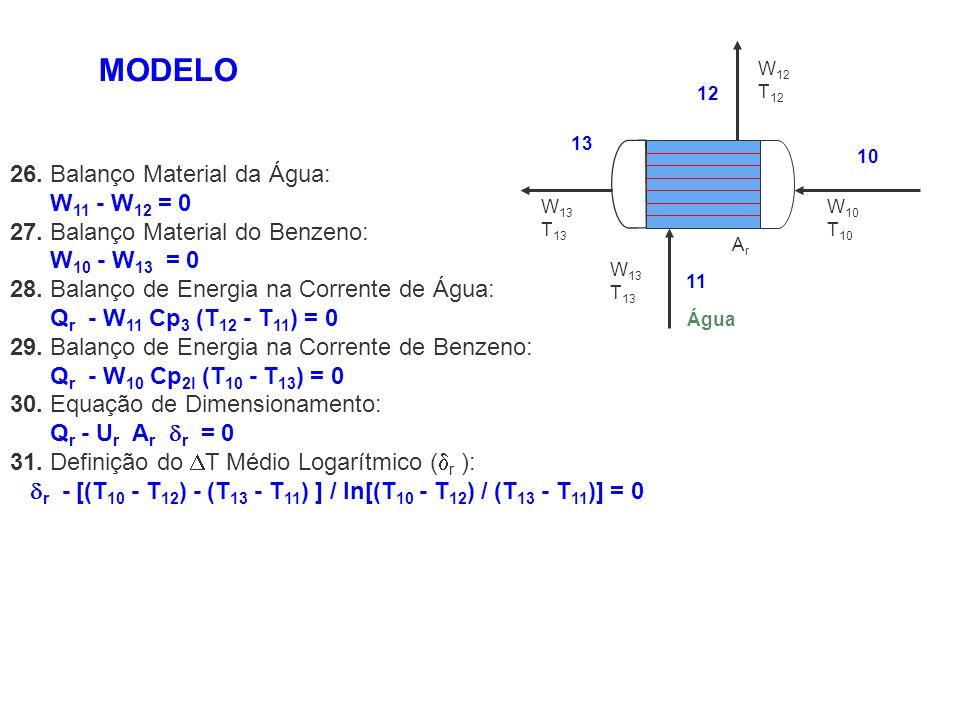 MODELO 26. Balanço Material da Água: W11 - W12 = 0