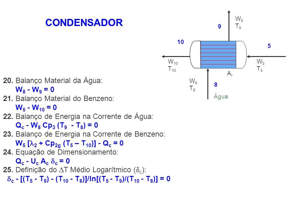 CONDENSADOR 20. Balanço Material da Água: W8 - W9 = 0