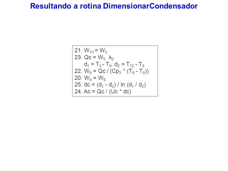 Resultando a rotina DimensionarCondensador